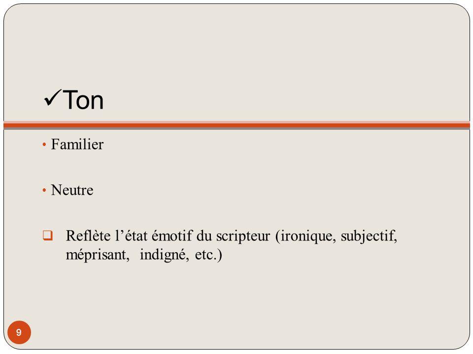 Ton Familier Neutre Reflète létat émotif du scripteur (ironique, subjectif, méprisant, indigné, etc.) 9