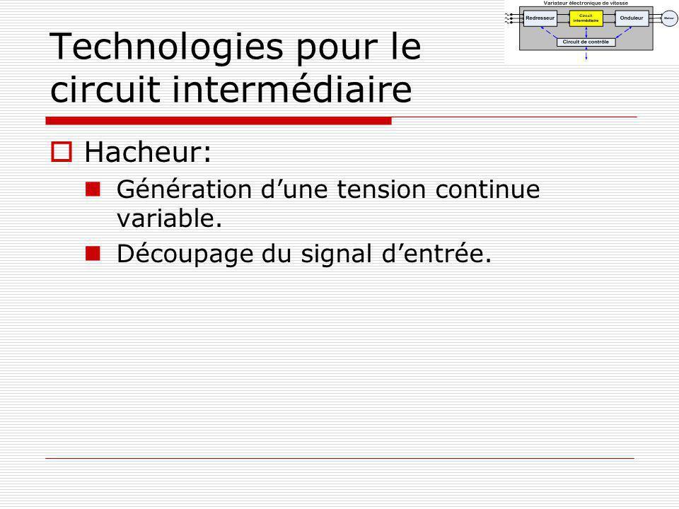 Technologies pour le circuit intermédiaire Hacheur: Génération dune tension continue variable. Découpage du signal dentrée.