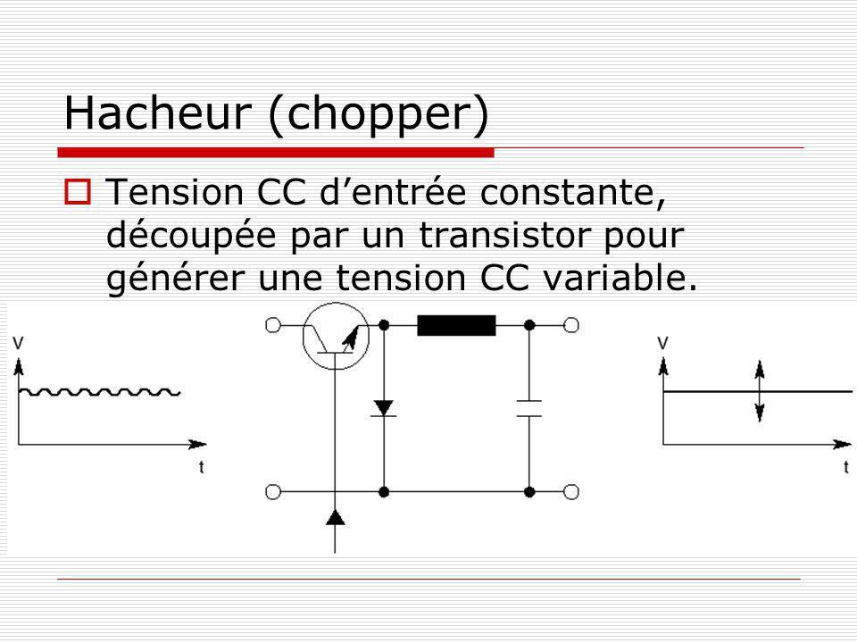 Hacheur (chopper) Tension CC dentrée constante, découpée par un transistor pour générer une tension CC variable.