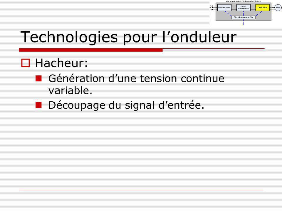 Technologies pour londuleur Hacheur: Génération dune tension continue variable. Découpage du signal dentrée.