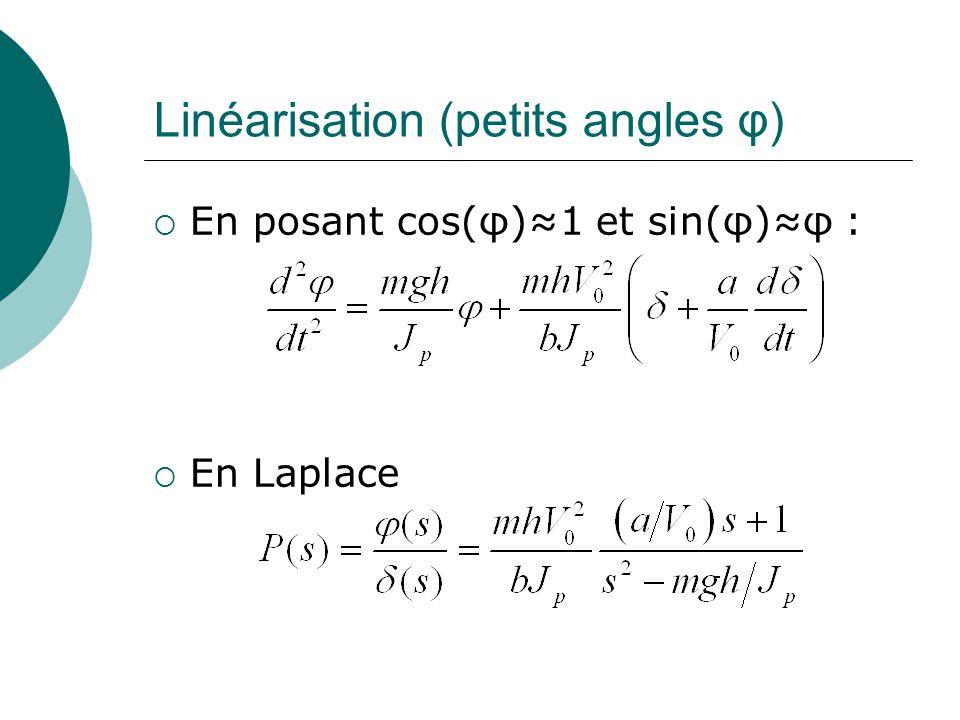 Linéarisation (petits angles φ) En posant cos(φ)1 et sin(φ)φ : En Laplace