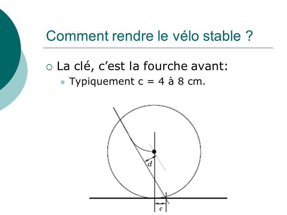Comment rendre le vélo stable ? La clé, cest la fourche avant: Typiquement c = 4 à 8 cm.