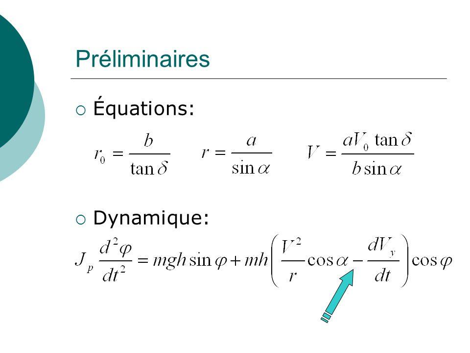 Préliminaires Équations: Dynamique: