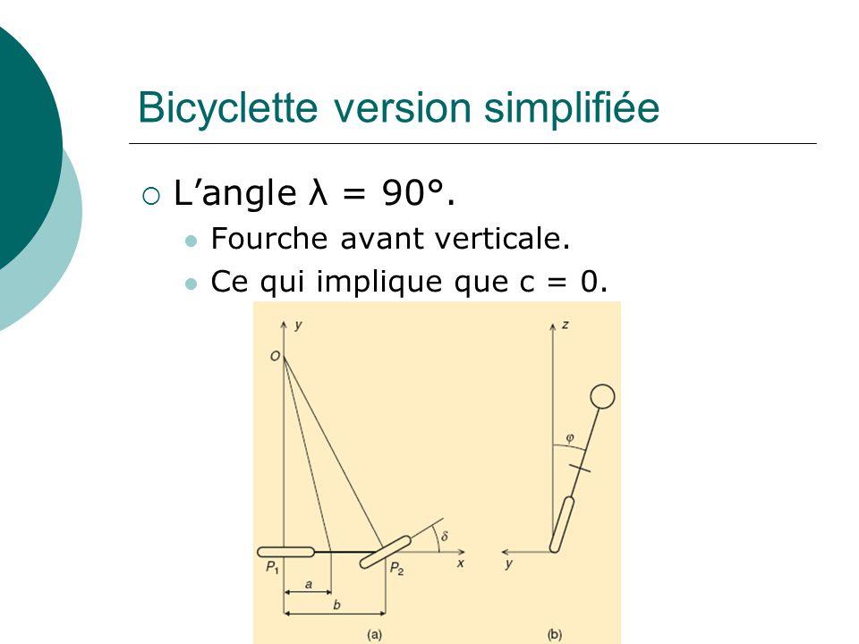 Bicyclette version simplifiée Langle λ = 90°. Fourche avant verticale. Ce qui implique que c = 0.
