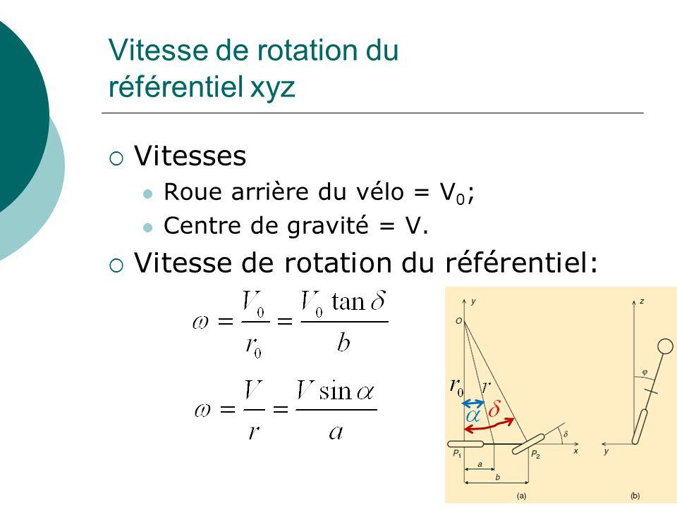 Vitesse de rotation du référentiel xyz Vitesses Roue arrière du vélo = V 0 ; Centre de gravité = V. Vitesse de rotation du référentiel: