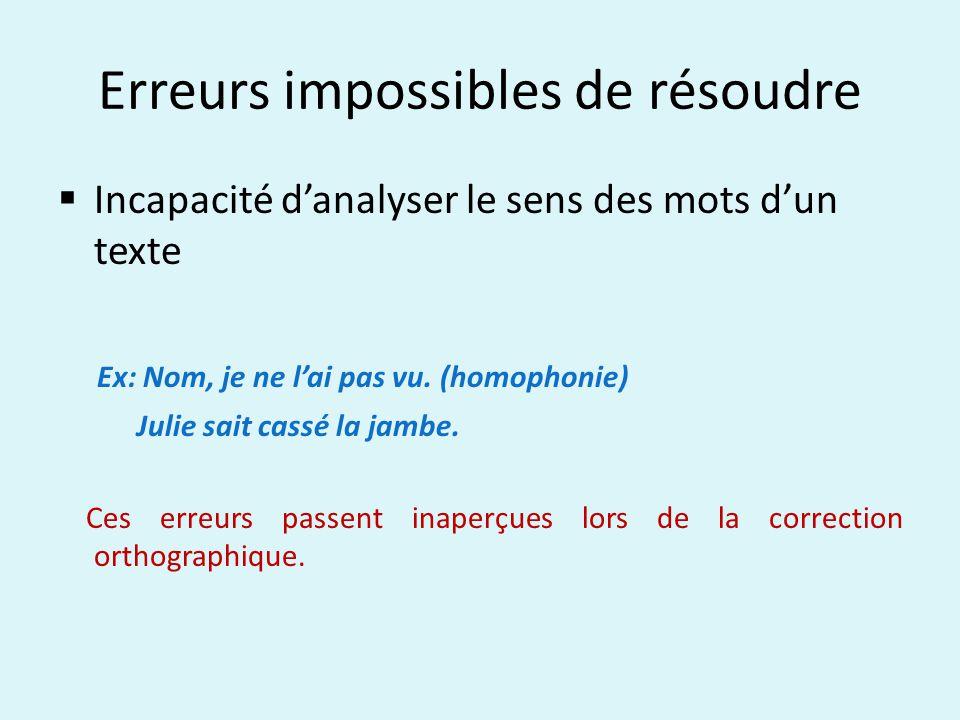 Erreurs impossibles de résoudre Incapacité danalyser le sens des mots dun texte Ex: Nom, je ne lai pas vu. (homophonie) Julie sait cassé la jambe. Ces