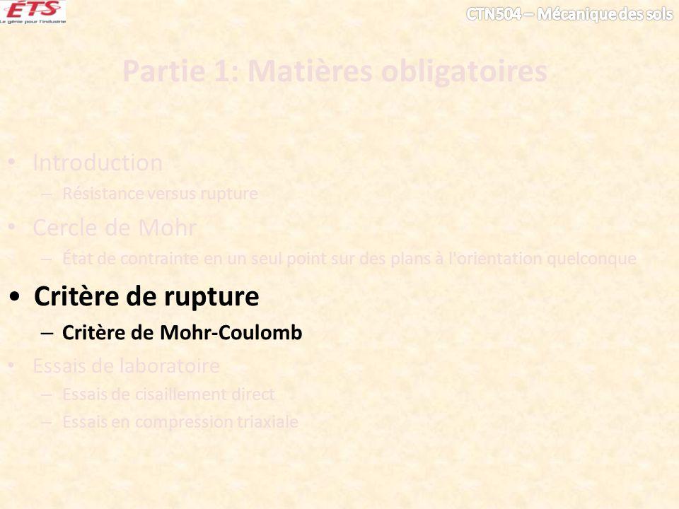 Partie 1: Matières obligatoires Introduction – Résistance versus rupture Cercle de Mohr – État de contrainte en un seul point sur des plans à l'orient