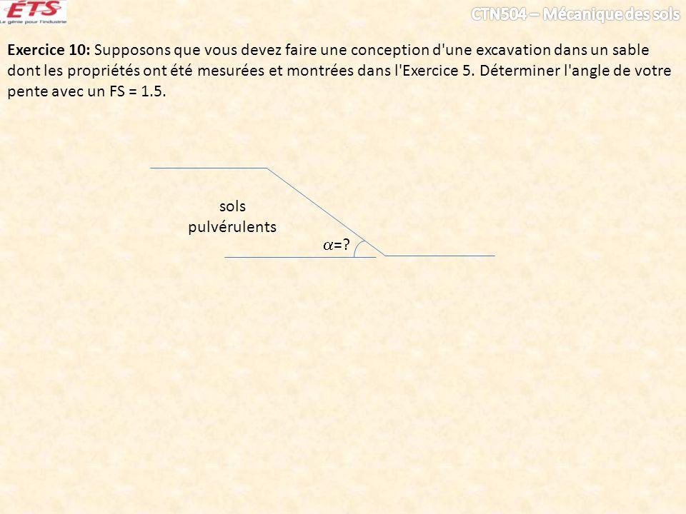 Exercice 10: Supposons que vous devez faire une conception d'une excavation dans un sable dont les propriétés ont été mesurées et montrées dans l'Exer