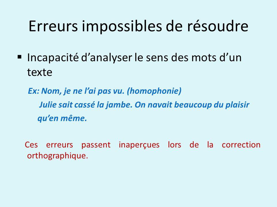 Erreurs impossibles de résoudre Incapacité danalyser le sens des mots dun texte Ex: Nom, je ne lai pas vu.