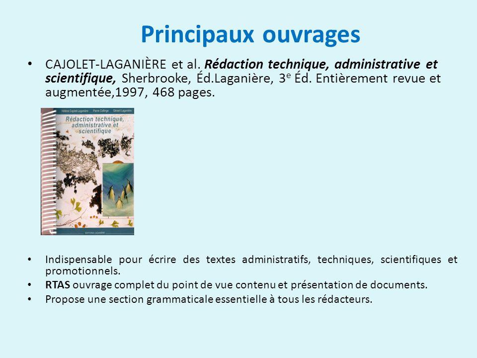 Principaux ouvrages CAJOLET-LAGANIÈRE et al.