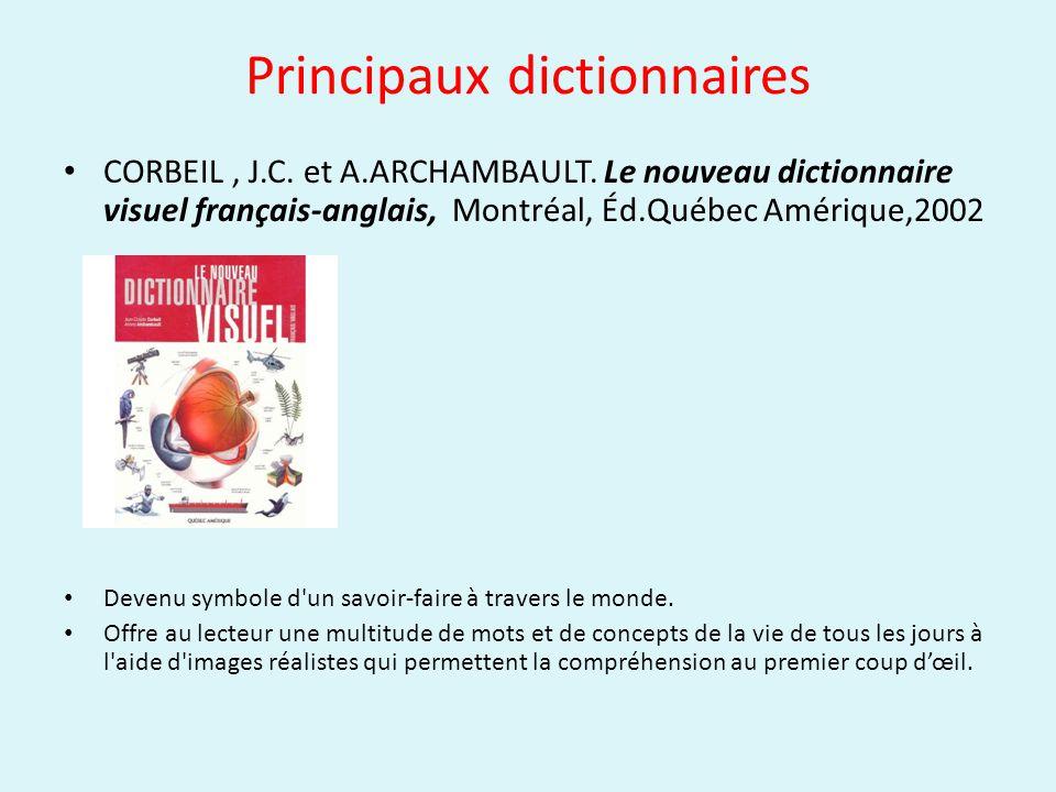 Principaux dictionnaires CORBEIL, J.C. et A.ARCHAMBAULT. Le nouveau dictionnaire visuel français-anglais, Montréal, Éd.Québec Amérique,2002 Devenu sym