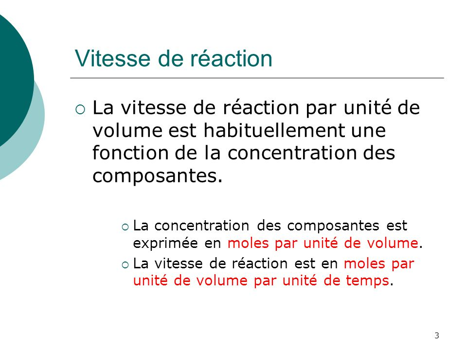 En régime permanent Donc on obtient: Les concentrations sont fonction du rapport F/V et de la vitesse de réaction k.