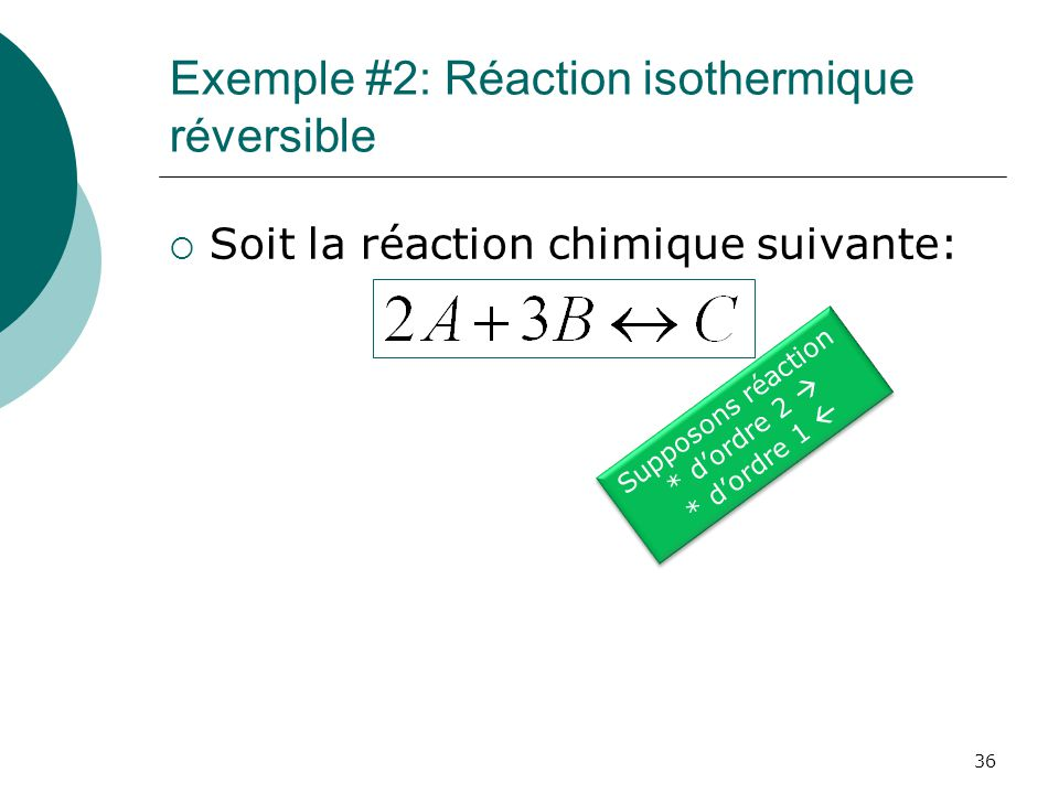 Exemple #2: Réaction isothermique réversible Soit la réaction chimique suivante: Supposons réaction * dordre 2 * dordre 1 Supposons réaction * dordre 2 * dordre 1 36
