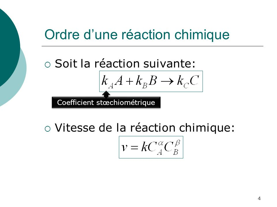 Ordre dune réaction chimique Ordre de la réaction chimique est: Si et, la réaction suit alors la loi de Vant Hoff.