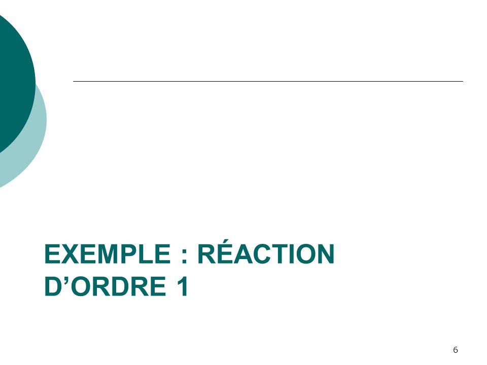 Exemple: A B Dans cette réaction chimique irréversible, chaque mole de produit A créé un mole de produit B.