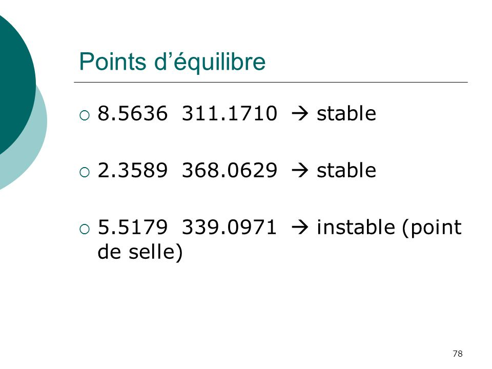 Points déquilibre 8.5636 311.1710 stable 2.3589 368.0629 stable 5.5179 339.0971 instable (point de selle) 78