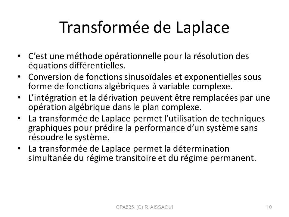 Transformée de Laplace Cest une méthode opérationnelle pour la résolution des équations différentielles. Conversion de fonctions sinusoïdales et expon