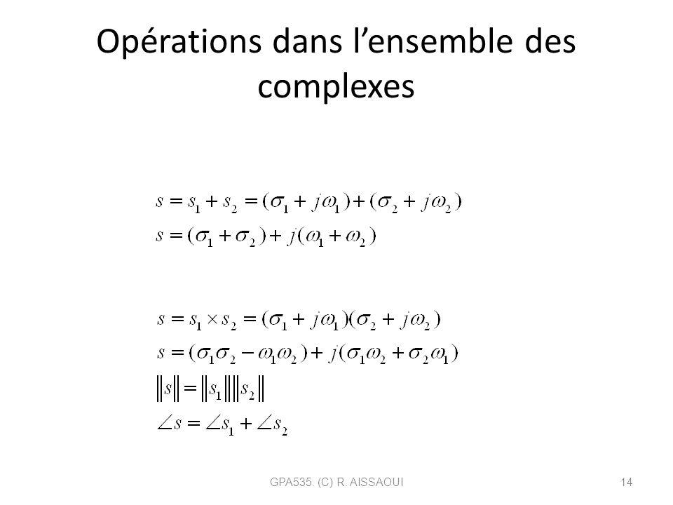 Opérations dans lensemble des complexes GPA535. (C) R. AISSAOUI14 Addition: Multiplication: