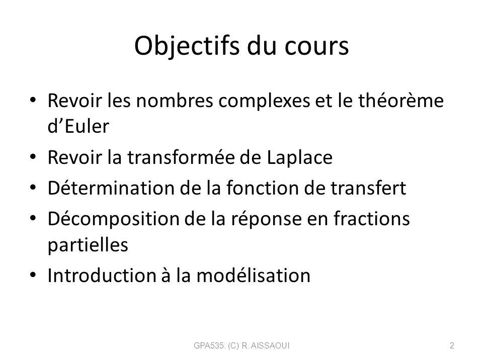 Objectifs du cours Revoir les nombres complexes et le théorème dEuler Revoir la transformée de Laplace Détermination de la fonction de transfert Décom