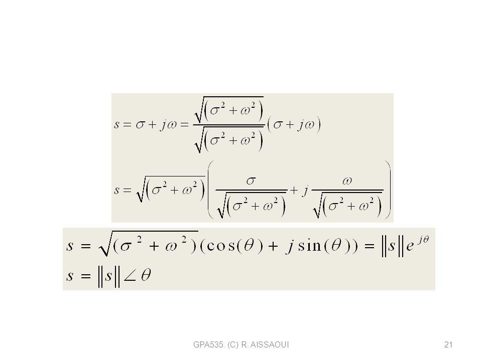 GPA535. (C) R. AISSAOUI21 Tout nombre complexe peut sécrire sous une forme exponentielle