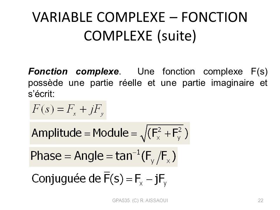 VARIABLE COMPLEXE – FONCTION COMPLEXE (suite) GPA535. (C) R. AISSAOUI22 Fonction complexe. Une fonction complexe F(s) possède une partie réelle et une