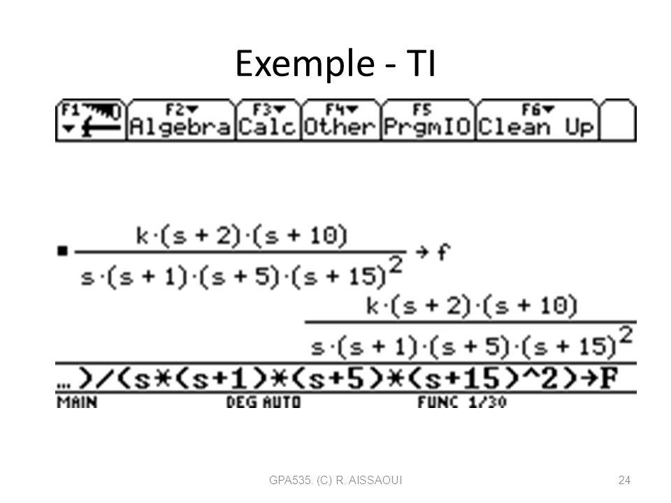 Exemple - TI GPA535. (C) R. AISSAOUI24