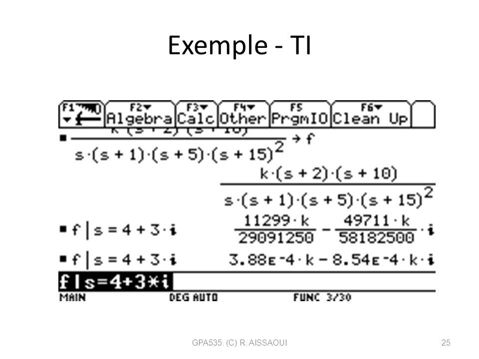 Exemple - TI GPA535. (C) R. AISSAOUI25