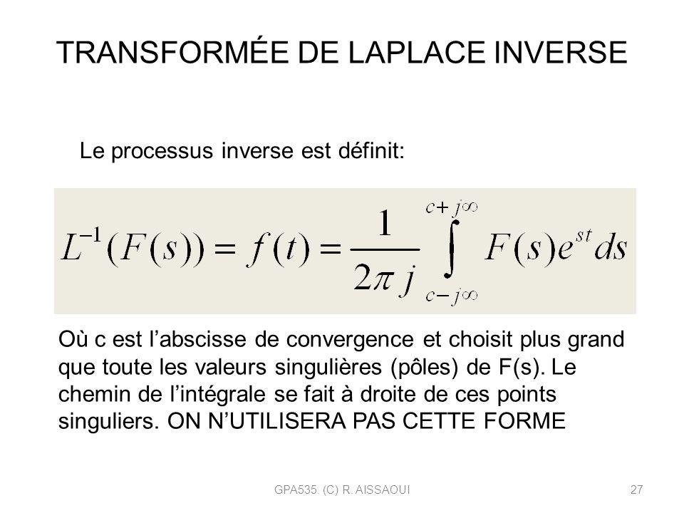 GPA535. (C) R. AISSAOUI27 TRANSFORMÉE DE LAPLACE INVERSE Le processus inverse est définit: Où c est labscisse de convergence et choisit plus grand que
