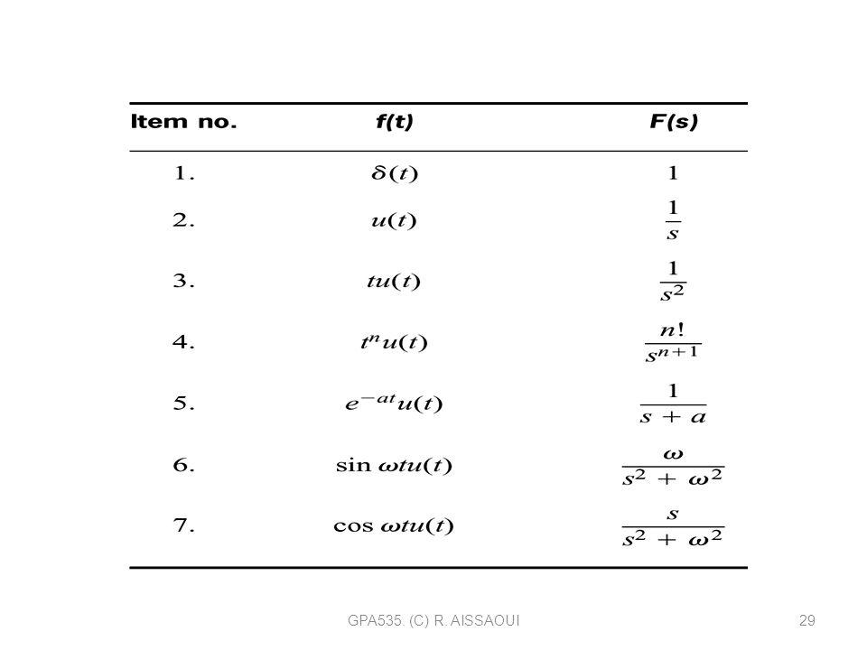 GPA535. (C) R. AISSAOUI29 TRANSFORMÉE DE LAPLACE (Tableau 2.1p. 41)