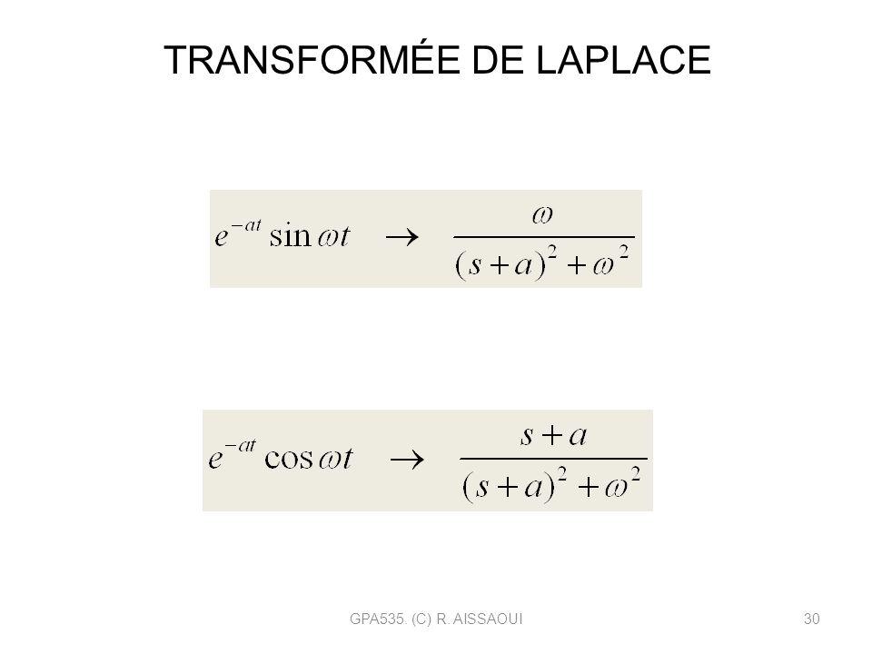 GPA535. (C) R. AISSAOUI30 TRANSFORMÉE DE LAPLACE Fonction sinus amortie Fonction cosinus amortie