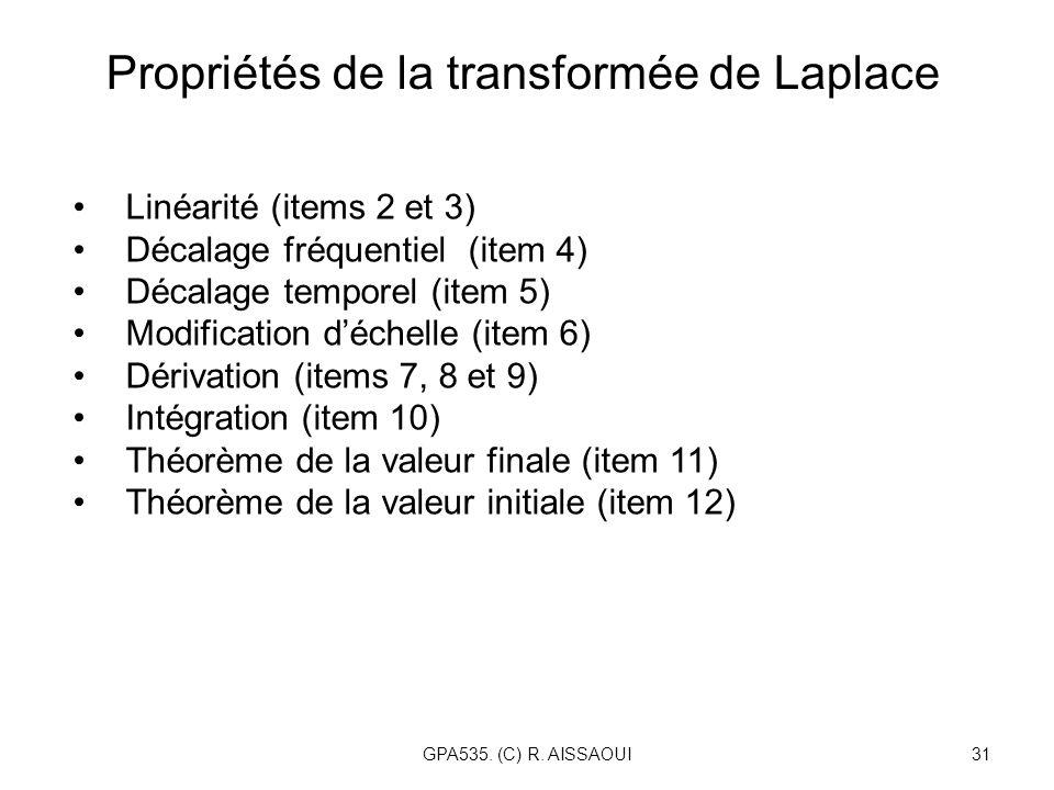 GPA535. (C) R. AISSAOUI31 Propriétés de la transformée de Laplace Linéarité (items 2 et 3) Décalage fréquentiel (item 4) Décalage temporel (item 5) Mo