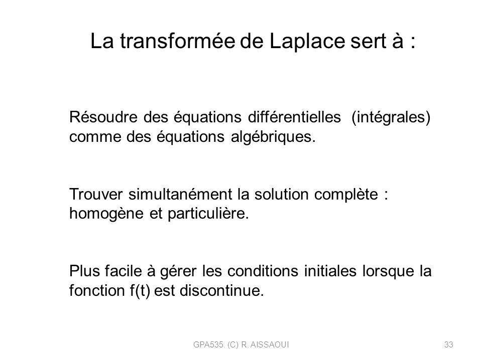 GPA535. (C) R. AISSAOUI33 Résoudre des équations différentielles (intégrales) comme des équations algébriques. Trouver simultanément la solution compl