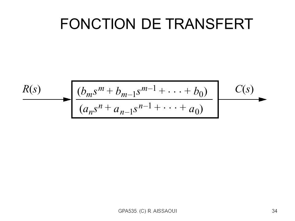 GPA535. (C) R. AISSAOUI34 FONCTION DE TRANSFERT