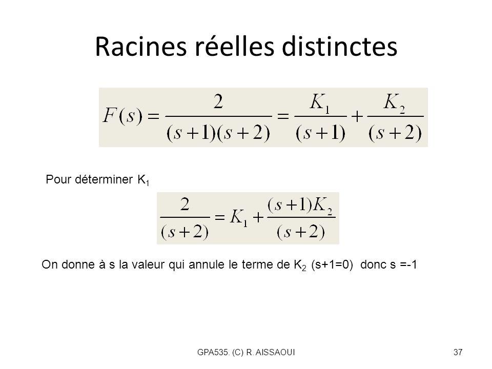 Racines réelles distinctes GPA535. (C) R. AISSAOUI37 Pour déterminer K 1 On donne à s la valeur qui annule le terme de K 2 (s+1=0) donc s =-1