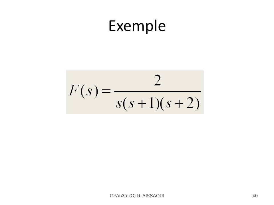 Exemple GPA535. (C) R. AISSAOUI40