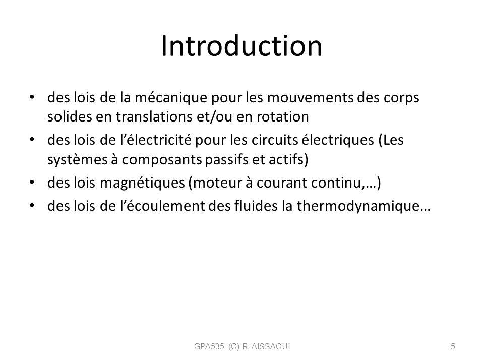 Introduction des lois de la mécanique pour les mouvements des corps solides en translations et/ou en rotation des lois de lélectricité pour les circui