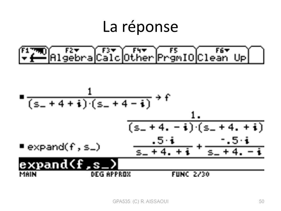 La réponse GPA535. (C) R. AISSAOUI50