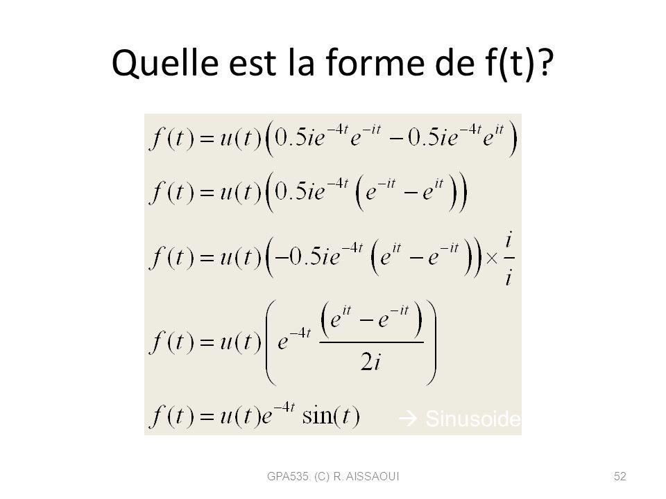 Quelle est la forme de f(t)? GPA535. (C) R. AISSAOUI52 Sinusoide amortie