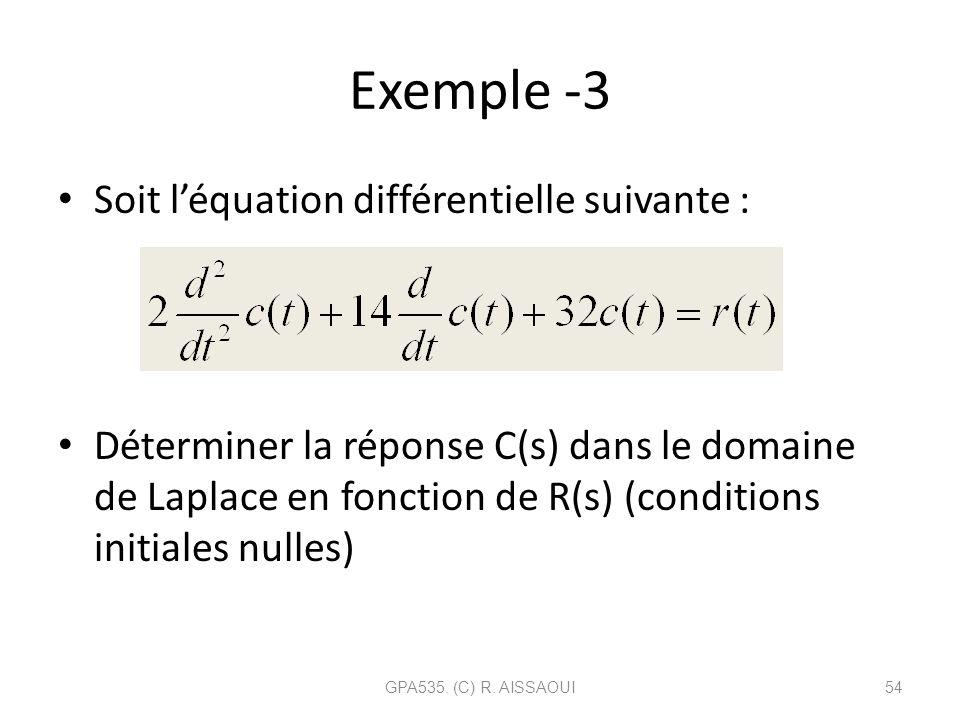Exemple -3 Soit léquation différentielle suivante : Déterminer la réponse C(s) dans le domaine de Laplace en fonction de R(s) (conditions initiales nu