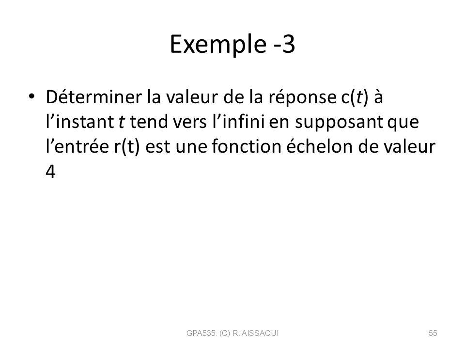 Exemple -3 Déterminer la valeur de la réponse c(t) à linstant t tend vers linfini en supposant que lentrée r(t) est une fonction échelon de valeur 4 G