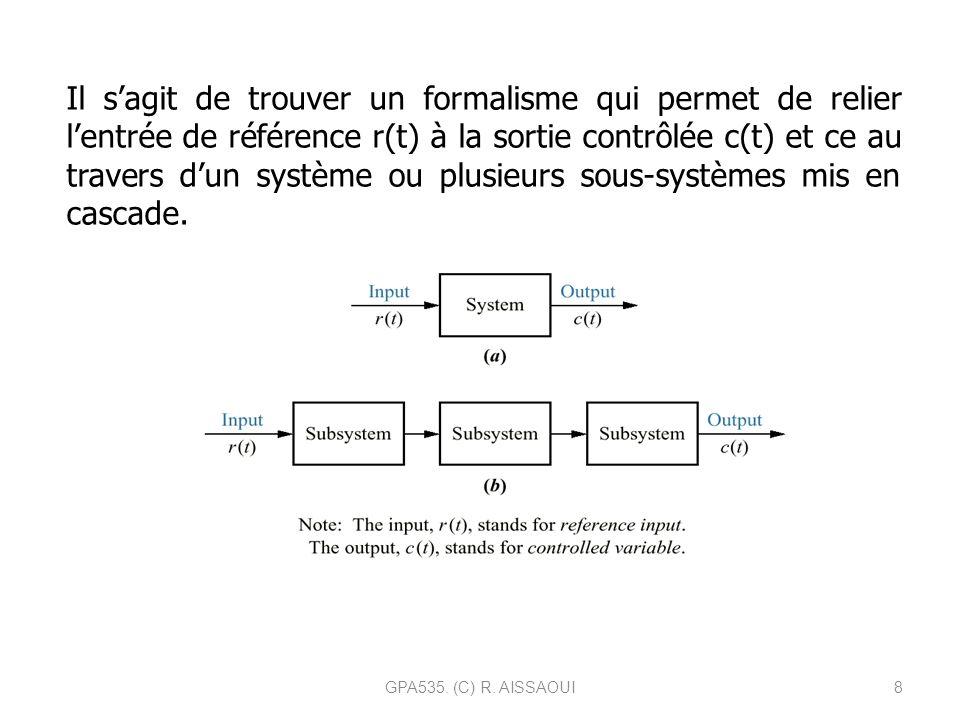 8 Il sagit de trouver un formalisme qui permet de relier lentrée de référence r(t) à la sortie contrôlée c(t) et ce au travers dun système ou plusieur