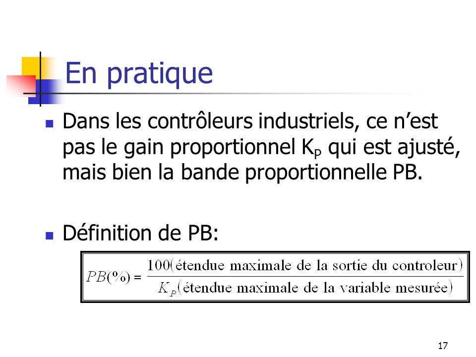 En pratique Dans les contrôleurs industriels, ce nest pas le gain proportionnel K P qui est ajusté, mais bien la bande proportionnelle PB. Définition