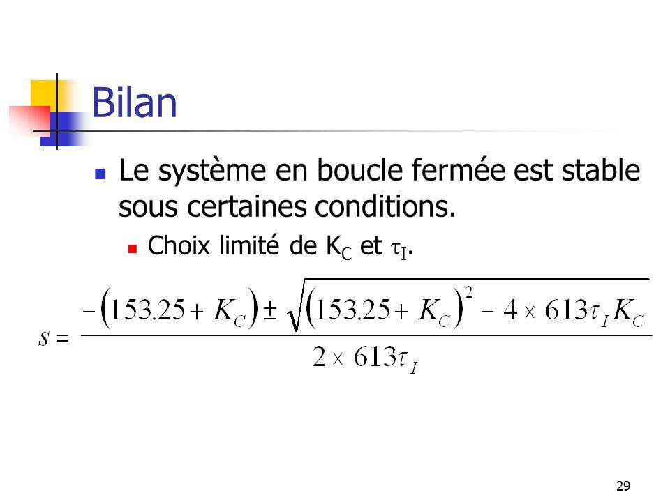 Bilan Le système en boucle fermée est stable sous certaines conditions. Choix limité de K C et I. 29