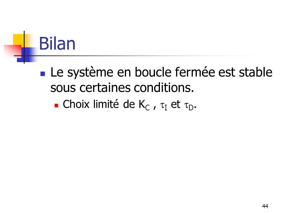 Bilan Le système en boucle fermée est stable sous certaines conditions. Choix limité de K C, I et D. 44