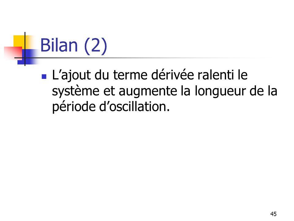 Bilan (2) Lajout du terme dérivée ralenti le système et augmente la longueur de la période doscillation. 45