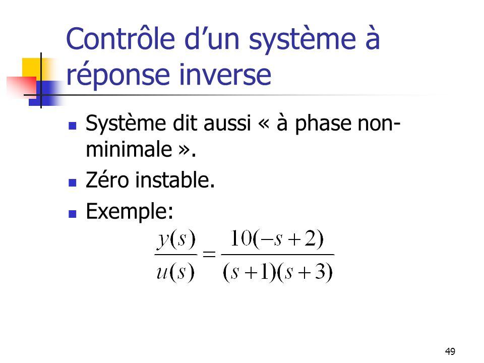 Contrôle dun système à réponse inverse Système dit aussi « à phase non- minimale ». Zéro instable. Exemple: 49