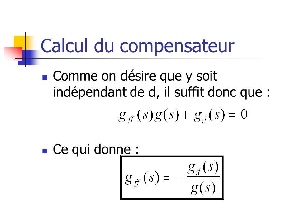 Calcul du compensateur Comme on désire que y soit indépendant de d, il suffit donc que : Ce qui donne :