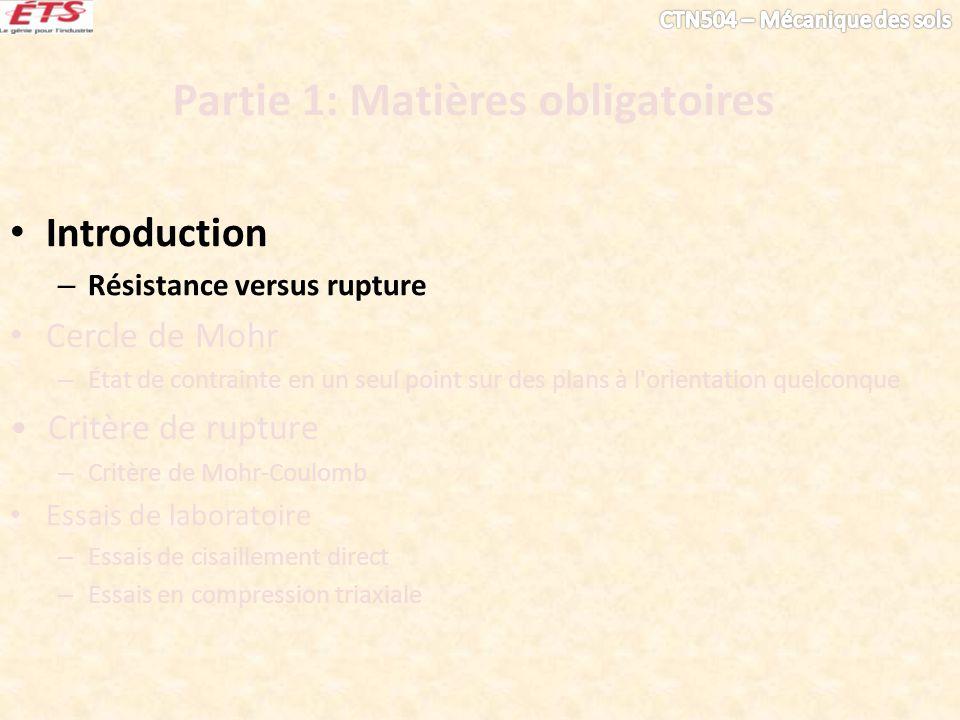 Partie 1: Matières obligatoires Introduction – Résistance versus rupture Cercle de Mohr – État de contrainte en un seul point sur des plans à l orientation quelconque Critère de rupture – Critère de Mohr-Coulomb Essais de laboratoire – Essais de cisaillement direct – Essais en compression triaxiale