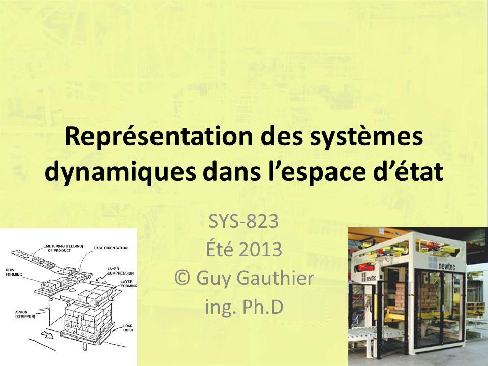 Représentation des systèmes dynamiques dans lespace détat SYS-823 Été 2013 © Guy Gauthier ing. Ph.D
