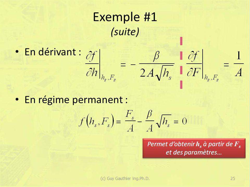 Exemple #1 (suite) En dérivant : En régime permanent : Permet dobtenir h s à partir de F s et des paramètres… 25(c) Guy Gauthier ing.Ph.D.